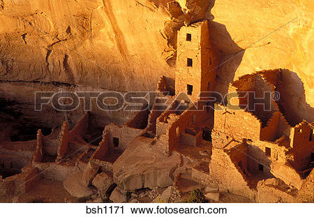Stock Photography of Evening light on Square Tower House Ruins.