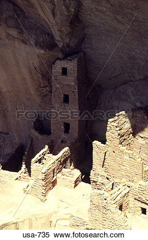 Stock Image of Square Tower House Mesa Verde National Park.