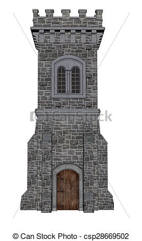 Stock Illustration of Square castle tower.