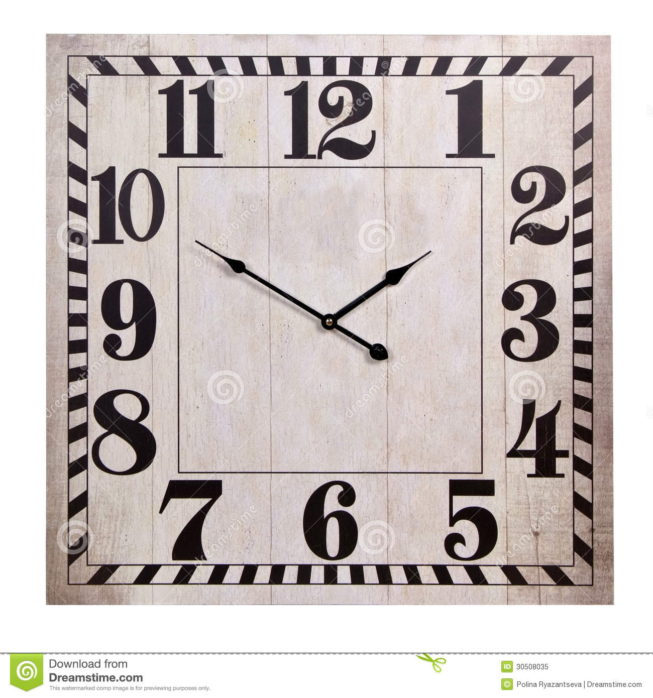 Old Square Wall Clock Royalty Free Stock Photo.
