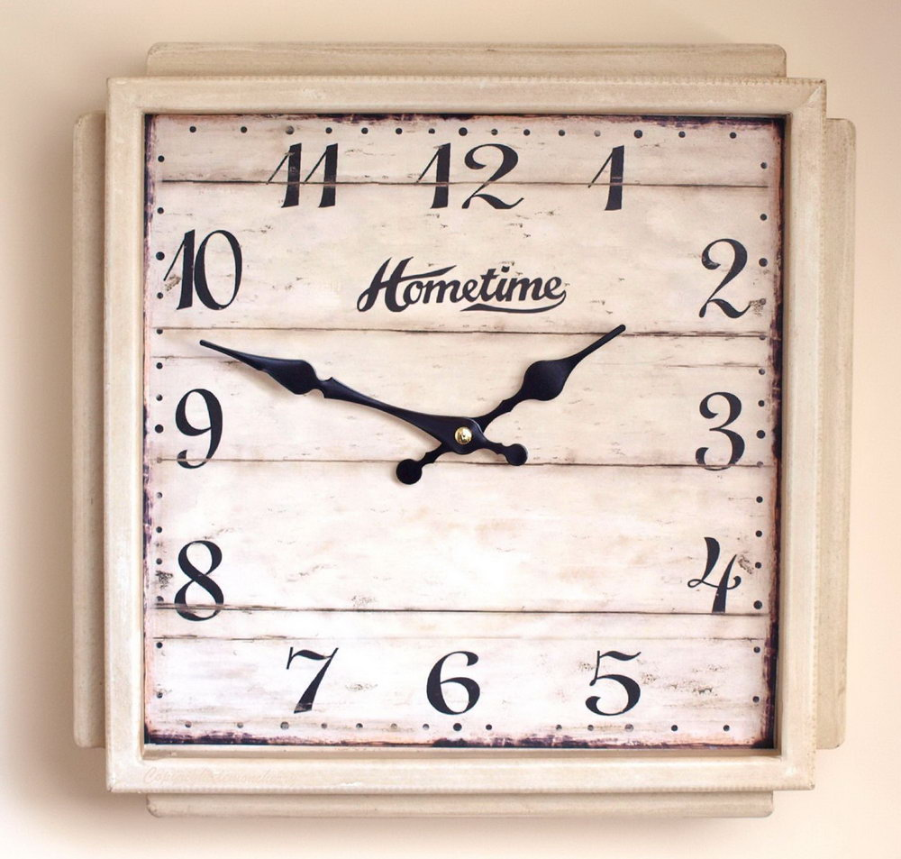 White Square Wall Clock.