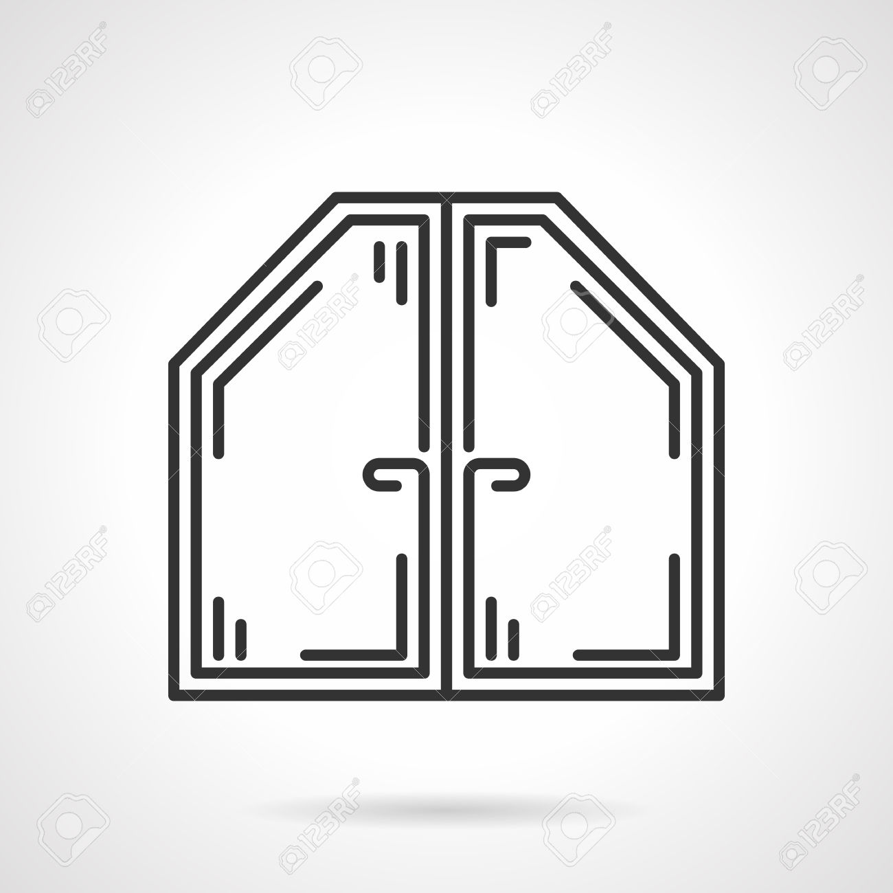 Flat Black Line Vector Icon For Attic Or Roof Modern Plastic.
