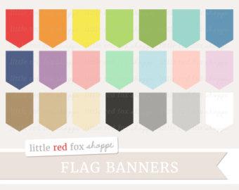 Vertical Flag Banner Clipart, Pennant Flag Clip Art Label Frame.