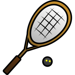 Squash Racquet And Ball Icon, PNG ClipArt Image.