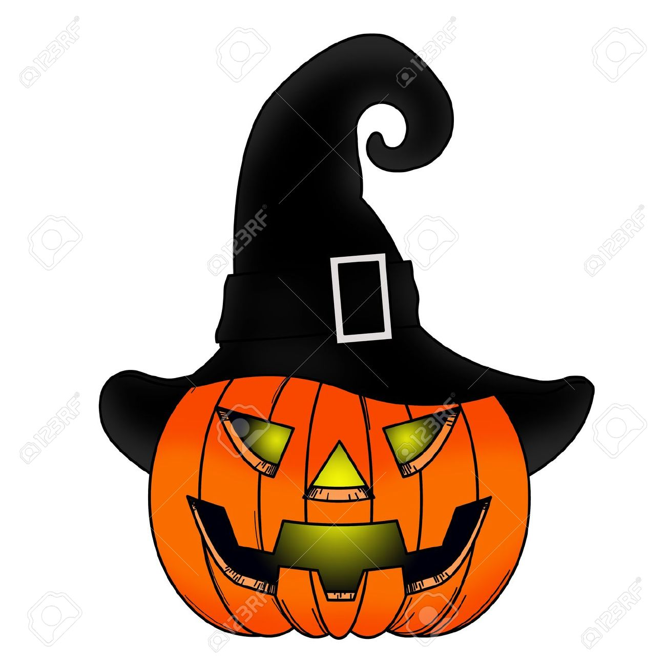 Halloween Pumpkin Comic With Witch Hat. Stock Photo, Picture And.