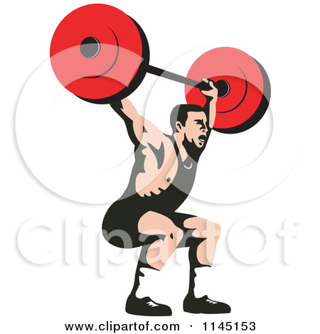 Clipart of a Bodybuilder Squatting with a Barbell.