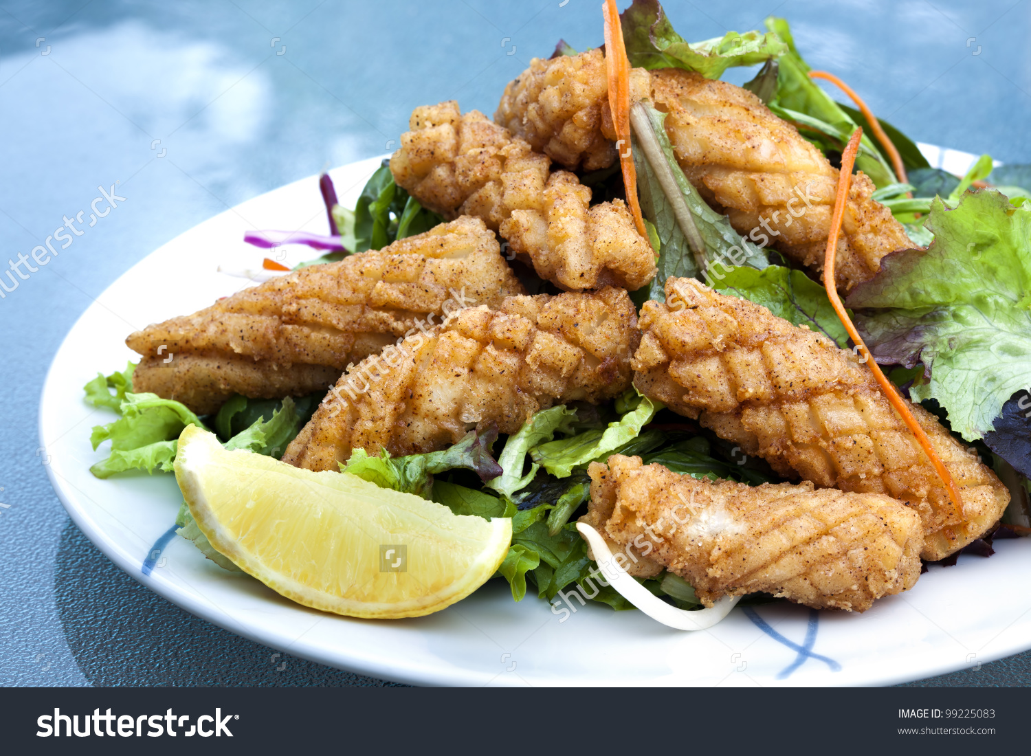 Calamari Salad Lemon Delicious Salt Pepper Stock Photo 99225083.