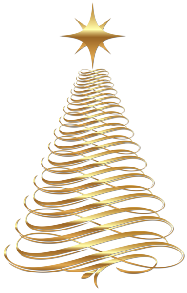 Large Transparent Christmas Gold Tree Clipart.