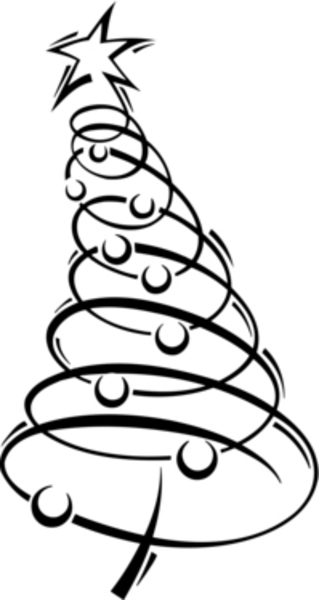 Swirly christmas tree clipart.