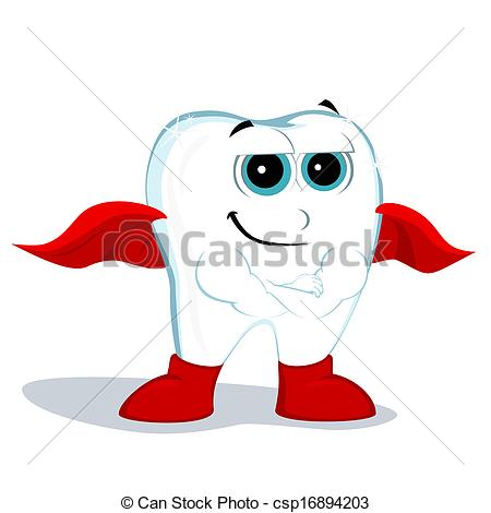 Vector Clipart of tooth hero squinted his eyes and stands with.