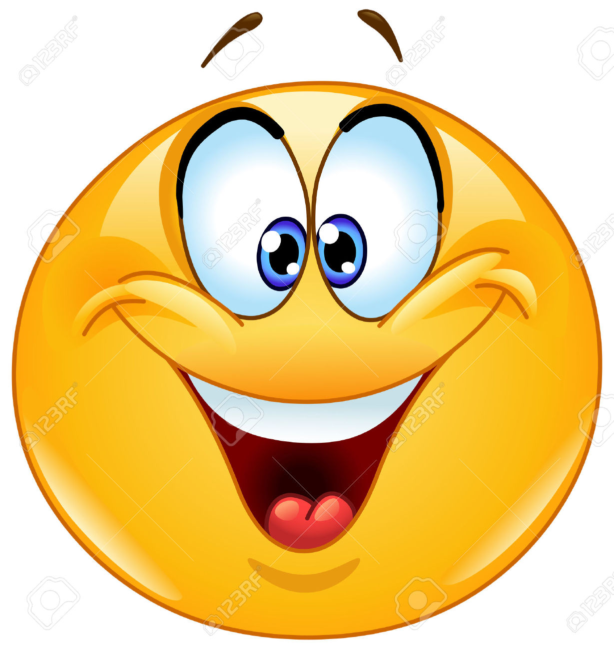 Happy Emoticon With Crossed Eyes Squinting. Royalty Free Cliparts.