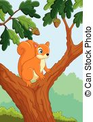 Squirrel on the tree. Illustration of very cute squirrel.
