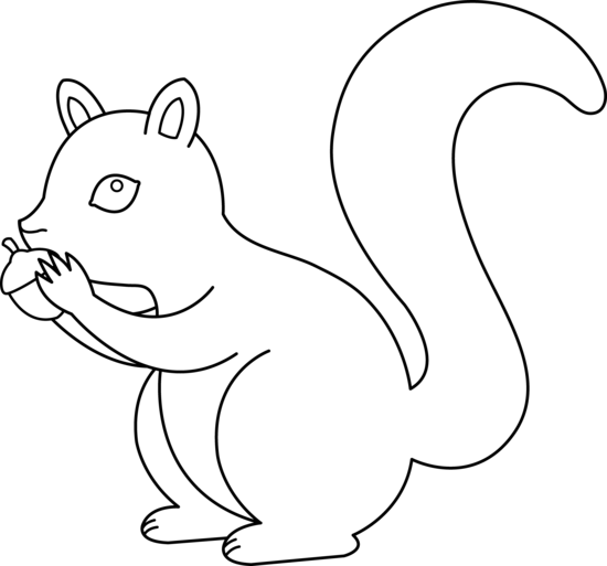 Cute Squirrel Coloring Page.