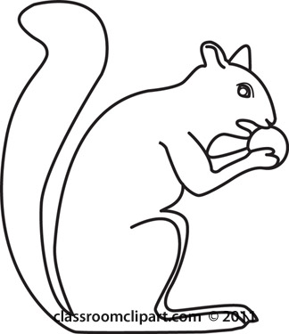 Squirrel Outline Clipart Black and White.
