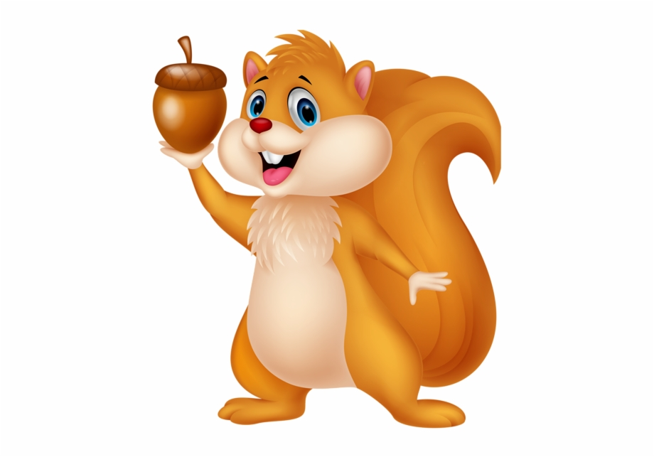 Cute Squirrel With Acorn Png Cartoon Clipart Free.