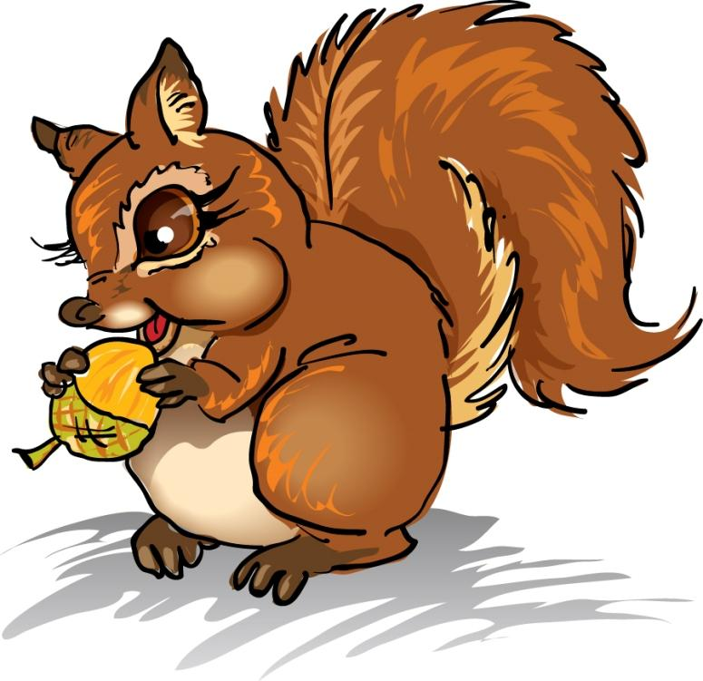 Squirrel Clip Art With Nuts.
