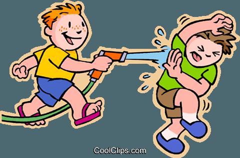 boys having squirt gun fight Royalty Free Vector Clip Art.