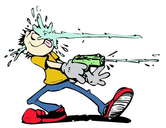 Water Gun Fight Clipart.