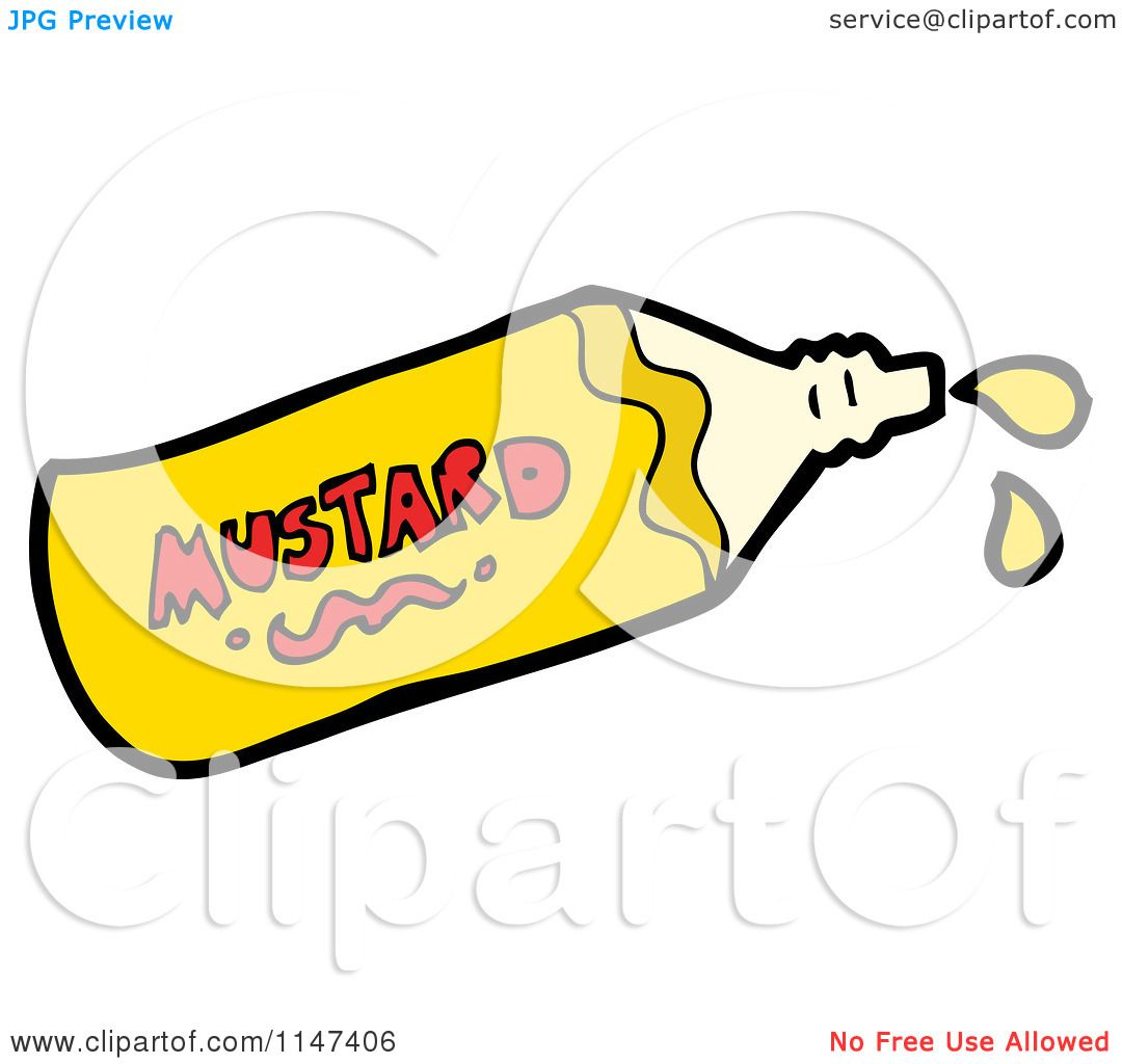Cartoon of a Squirting Mustard Bottle.