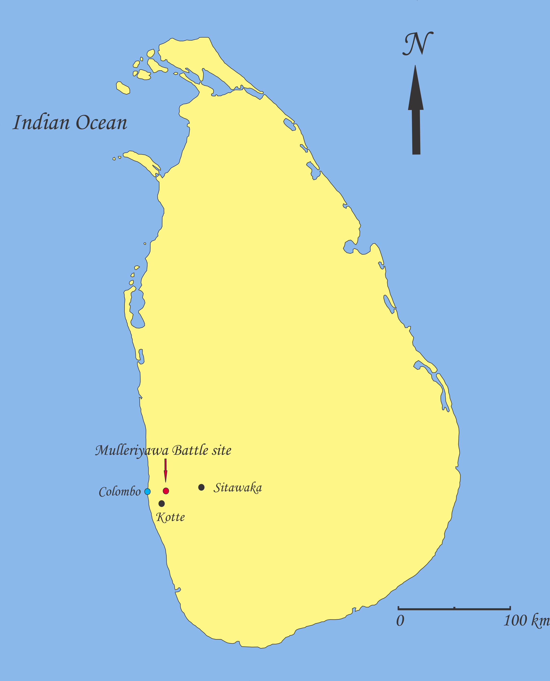 File:Mulleriyawa battle site on Sri Lanka map.png.