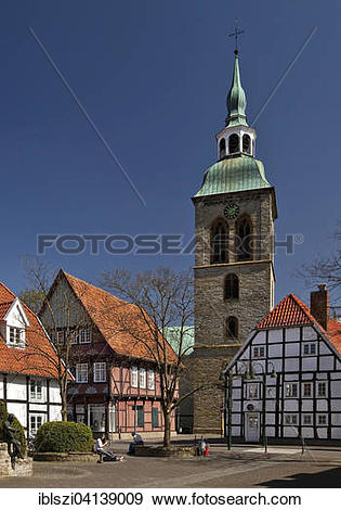Stock Photograph of Historic centre of Wiedenbruck with the Church.