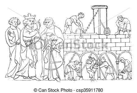 Stock Illustration of On A built the abbey of St. Albans, vintage.