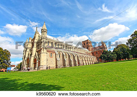 Stock Photography of St Albans Cathedral, England, UK k9560620.