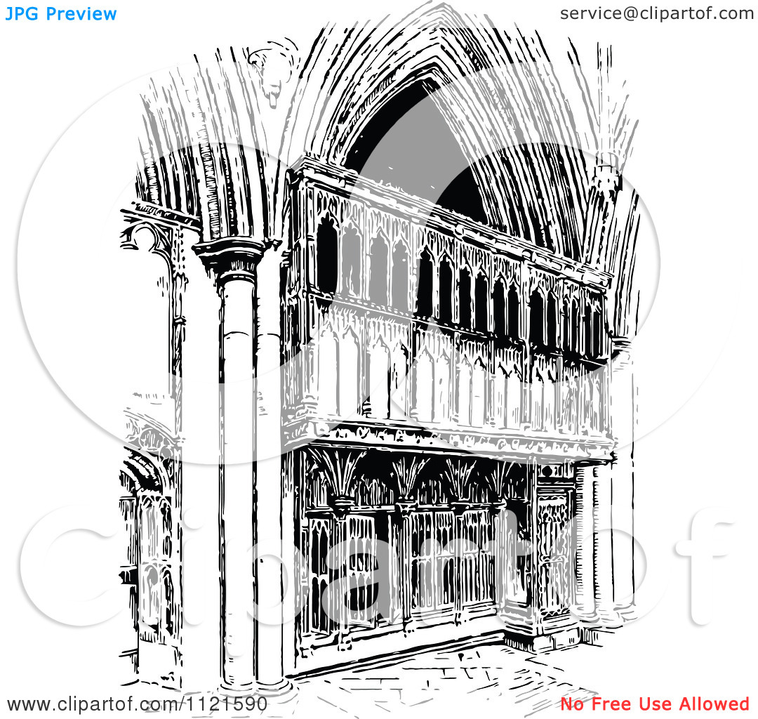 Clipart Of A Retro Vintage Black And White Facade Of St Albans.