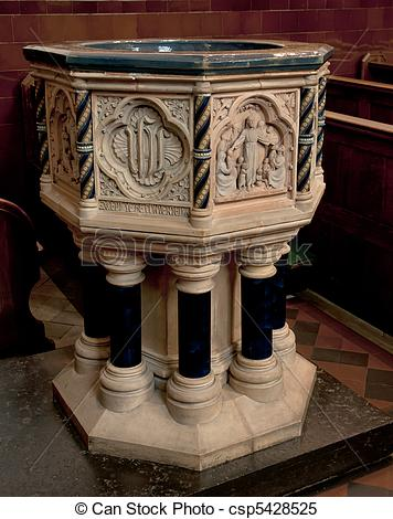 Stock Images of Baptismal font in St.Albans church..