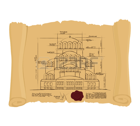 Drawing Of Church Of St. Alexander Nevsky Of Ancient Scroll.