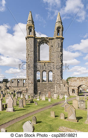 Stock Photo of St Andrews cathedral, Fife, Scotland csp28518821.