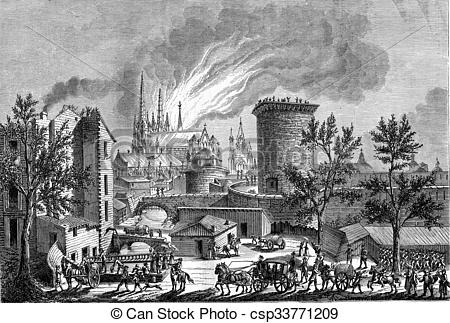 Stock Illustration of Fire at St. Andrew's Cathedral in Bordeaux.