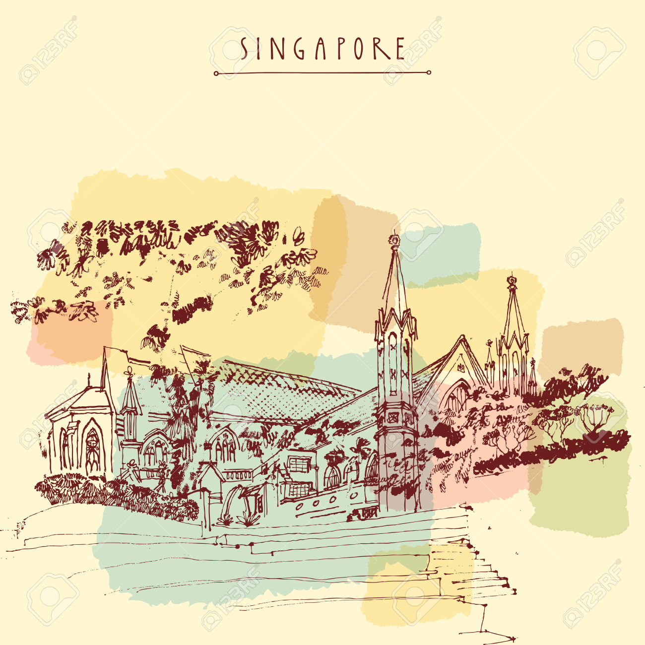 St Andrew's Cathedral, Singapore. Travel Hand Drawn Postcard.