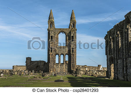 Stock Photographs of St Andrews cathedral, Scotland.