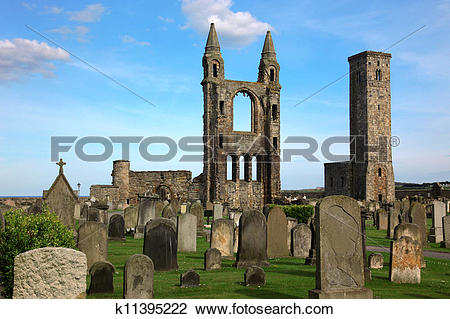 Stock Photo of St Andrews cathedral grounds, GB k11395222.