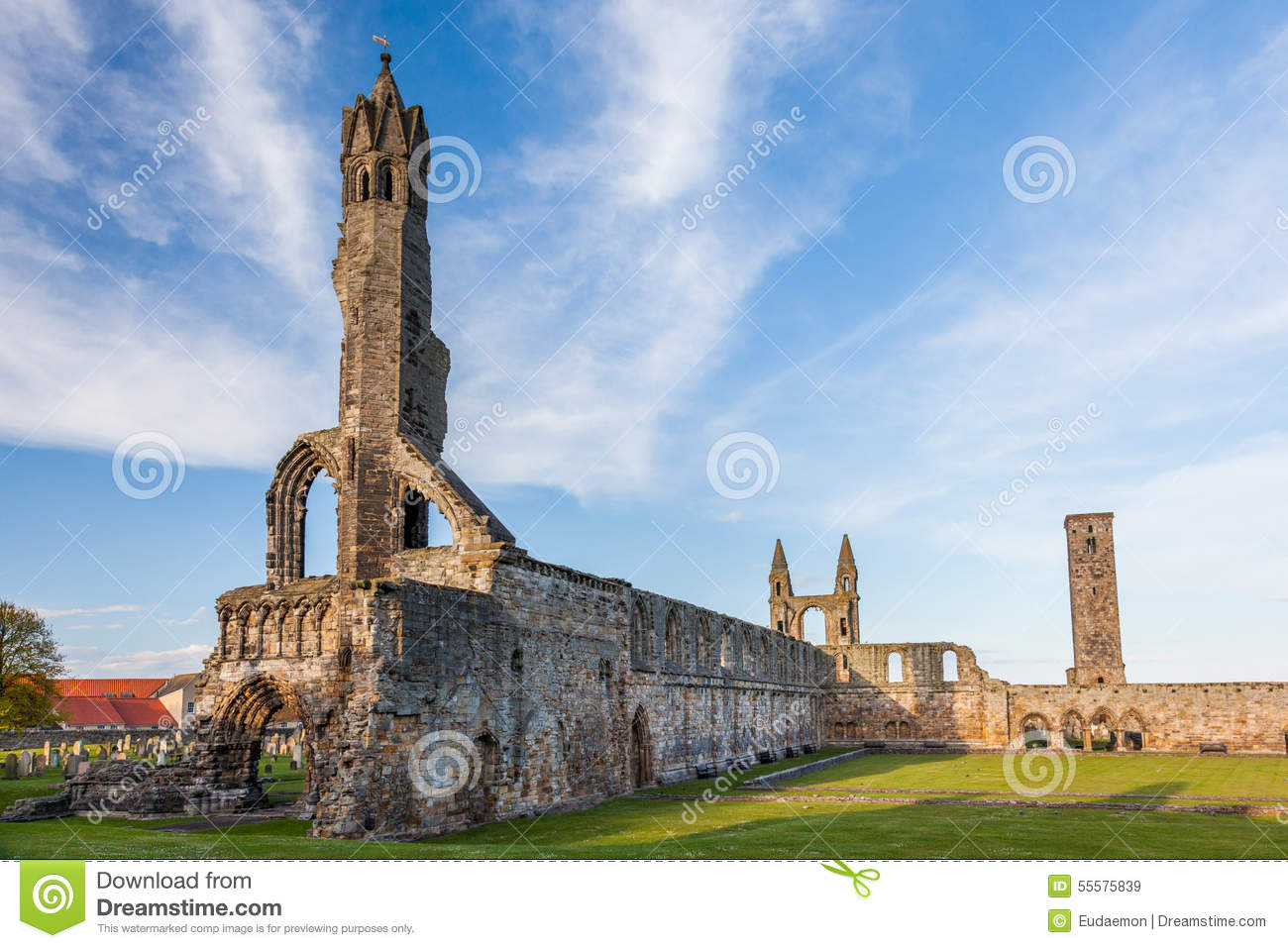 Ruins Of St Andrews Cathedral Stock Photo.