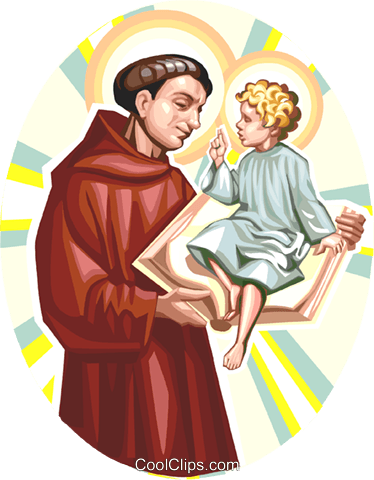 Saint Anthony of Padua Royalty Free Vector Clip Art.