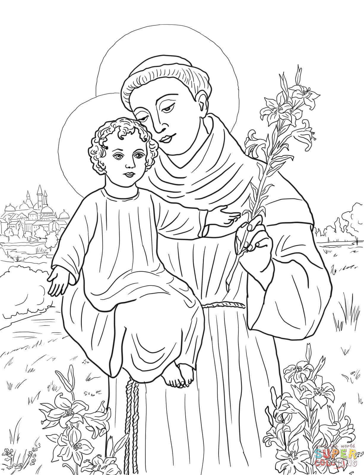 St. Anthony of Padua coloring page.