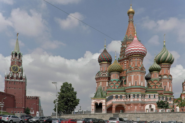 Google's gift to Red Square's St. Basil Cathedral: a doodle.