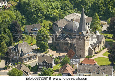 "Pictures of ""Aerial view, Church of St. Blasius, Balve, North."