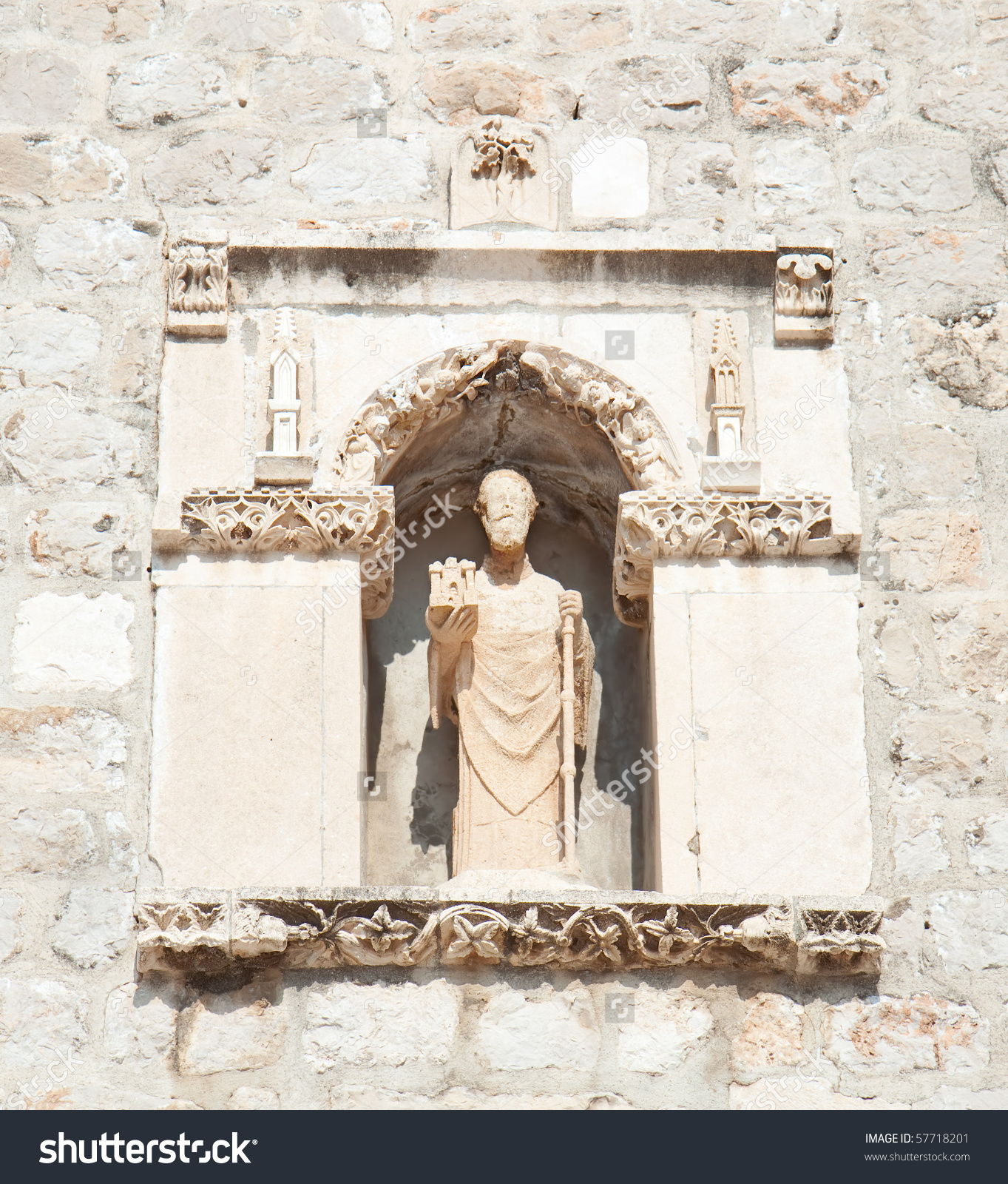 Statue Of St Blasius (Sv. Vlaho) The Protector Of Dubrovnik Placed.