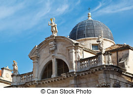 Stock Photographs of Catholic cathedral in Dubrovnik, Croatia.