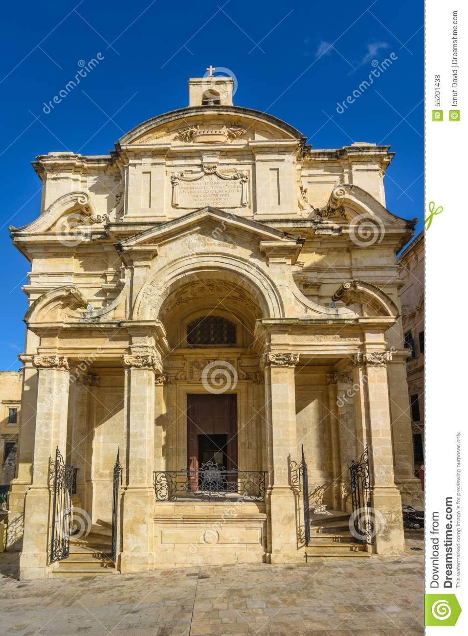 St. Catherine Of Italy Church In Valetta Stock Photo.
