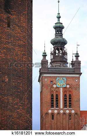 Stock Photography of St. Catherine's Church in Gdansk, Poland.