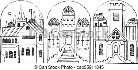 EPS Vector of Sculptures from the pulpit of the church of St.
