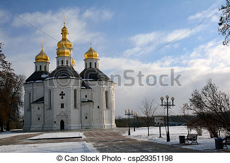 Stock Photographs of Winter park in Chernihiv, Ukraine, with St.