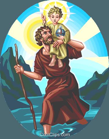 Saint Christopher Royalty Free Vector Clip Art illustration.
