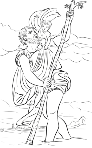 Saint Christopher coloring page.
