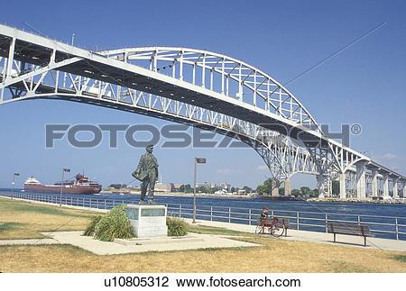 Stock Photo of Port Huron, MI, Lake Huron, Michigan, Thomas Edison.