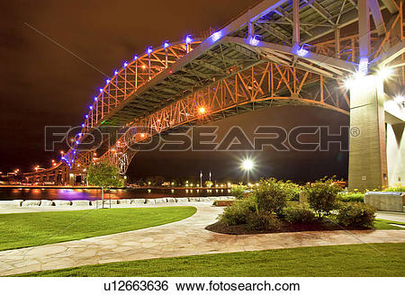 Stock Images of The Bluewater Bridge over the St Clair River.